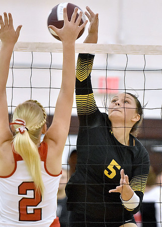 (Brad Davis/The Register-Herald) Greenbrier East's Maddie Cochran drives the ball against South Charleston during the Shirley Brown Invitational Saturday morning at Woodrow Wilson High School.