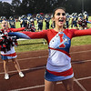 Felicia Cochran, Independence cheerleader, cheering during game against Pikeview Friday night on George D Covey Field at Independence High School.<br /> (Rick Barbero/The Register-Herald)