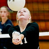 Liberty's Katie Combs (11) hits a ball up to a teammate  during their match against Meadow Bridge in Oak Hill on Tuesday. (Chris Jackson/The Register-Herald)