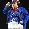 Lindsey Reed, drum major for Independence, dress up to support past and current veterans during game against Midland Trail at Independence High School in Coal City Friday night.<br /> (Rick Barbero/The Register-Herald)