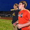 (Brad Davis/The Register-Herald) Trap Hill Middle School student Caden Gray (right) reacts to events on the field as he and fellow Trap Hill student Nikolas Lucas, both 12, watch the Raiders Friday night in Glen Daniel.