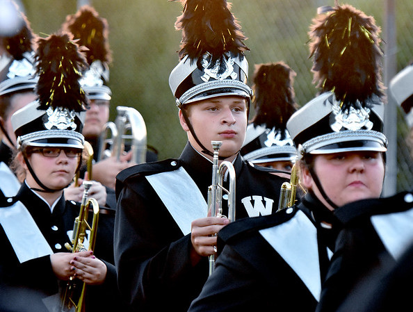 (Brad Davis/The Register-Herald) The Westside marching band moves into position during the Renegades season opener at Liberty Friday night in Glen Daniel.