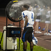 Je'Nye Hearn, of Princeton, cools off in front of a fan during game against Shady Spring.<br /> Photo by Erin Wood