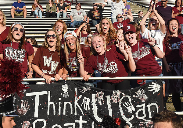 Woodrow Wilson fans getting pumped up for game against Riverside High School at Van Meter Stadium in Beckley Friday night.<br /> (Rick Barbero/The Register-Herald)