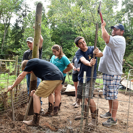 (Brad Davis/The Register-Herald) Hampshire County High School students (from left) Moah Wheatley (foreground digging), Nathan Walker (left holding post) Lexi Lease, Jordan Kelley (right holding post), and their rogram instructor Isaac Lewis repair flood-damaged fencing as their group of F.F.A. and Animal Veterinary Sciences students help to clean up the LaRues' Williamsburg farm Saturday in Greenbrier County.