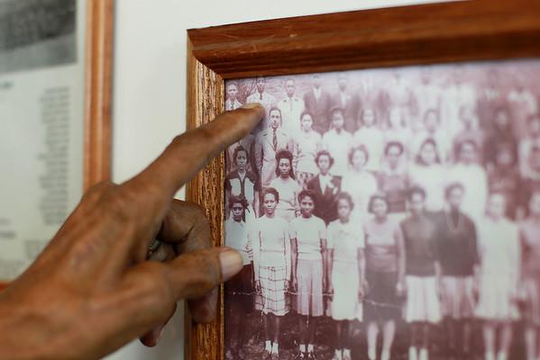Jordan Evans points himself out of a class photo. (Chris Jackson/The Register-Herald)