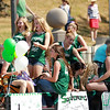 Members of the Wyoming East girls basketball team are one of the first floats in the annual Pineville Labor Day Parade on Monday. (Chris Jackson/The Register-Herald)