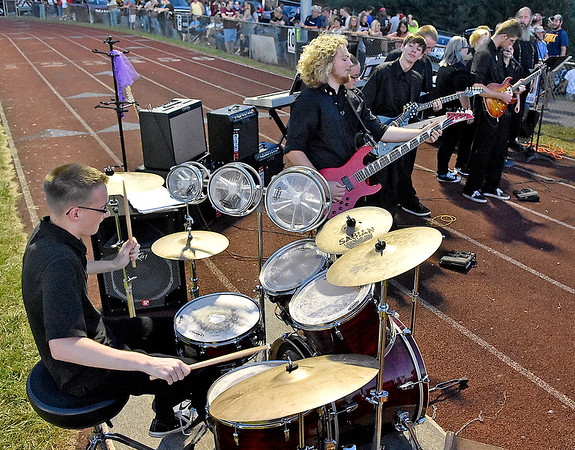 (Brad Davis/The Register-Herald) The Liberty band, not your average marching variety, keeps the crowd rockin' during the Raiders' home game against Westside Friday night in Glen Daniel.