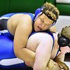 (Brad Davis/The Register-Herald) Beckley-Stratton's Daesyn Leftwich takes on Ansted Middle's Jacob Armstrong in an unlimited weight class matchup during the 9th Annual Wayne Bennett Invitational Saturday morning at Park Middle School. Beckley-Stratton's Leftwich won the match.