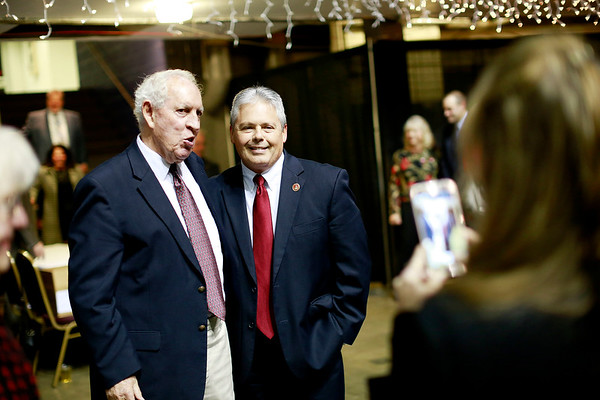 Spirit of Beckley Honoree Dave Barksdale, left, poses for a photo with West Virginia House Majority Whip John O'Neal<br /> during the Spirit of Beckley Awards Monday at the Beckley-Raleigh County Convention Center. (Chris Jackson/The Register-Herald)