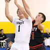 (Brad Davis/The Register-Herald) Shady Spring's Keith Sexton drives and scores as Liberty's Ethan Hill defends Friday night in Shady Spring.