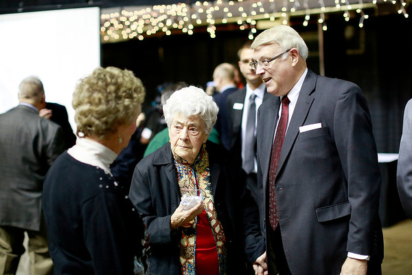 Former Beckley Mayor Bill O'Brien, right, chats with Betty Wilkes, center, and Pat Earehart during the Spirit of Beckley Awards Monday at the Beckley-Raleigh County Convention Center. (Chris Jackson/The Register-Herald)
