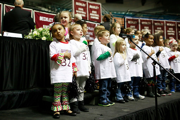 Members of the Happy Kids Preschool sing the Pledge of Allegiance and God Bless America  during the Spirit of Beckley Awards Monday at the Beckley-Raleigh County Convention Center. (Chris Jackson/The Register-Herald)
