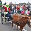 (Brad Davis/The Register-Herald) The Grinch, in a better mood than usual for the season, waves to the crowd along Neville Street as he's pulled along by a miniature horse and buggy during Beckley's Christmas Parade Saturday afternoon.