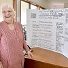(Brad Davis/The Register-Herald) Glen Fork resident Hazel Hurley shows the poster board stand proudly listing all those individuals and organizations who donated money for her efforts to help flood victims in regions where aid money was in shorter supply at the Red Cross's Industrial Drive headquarters Thursday afternoon.