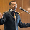 (Brad Davis/The Register-Herald) Jovare Brown, one of several young speakers to take the stage during the program, tells the story of his grandfather, Robert Brown, who was a minister at Central Baptist from 1971-2006, during the church's Black History Month celebration Sunday afternoon.