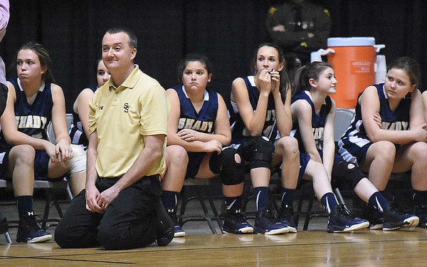 Shady Spring head coach, Timothy Bragg watching his team in the final minutes getting defeated by Beckley Stratton 34-20 during the semi-final game of The Big Atlantic Classic held at the Beckley-Raleigh County Convention Center Monday afternoon.