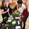 (Brad Davis/The Register-Herald) Bride-to-be Rakeisha Hamby, right, gets some information on It Works! products from product reps Beckie Ross, left, and Kristen Turton, middle, during the Bridal, Prom and Special Occasions Fair Saturday afternoon at the Beckley-Raleigh County Convention Center.