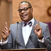 (Brad Davis/The Register-Herald) Dr. L. Marshall Washington, President of New River Community & Technical College, delivers his message as the keynote speaker at Heart of God Ministries' annual Black History Month celebration Sunday evening.