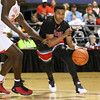 Brad Davis/The Register-Herald<br /> Jonesboro's Tariq Jenkins drives along the perimeter against Oak Hill Academy Wednesday night at the Beckley-Raleigh County Convention Center.