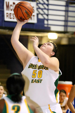 Brad Davis/The Register-Herald<br /> Greenbrier East's Piper Nunley drives to the basket Thursday night at the Beckley-Raleigh County Convention Center.