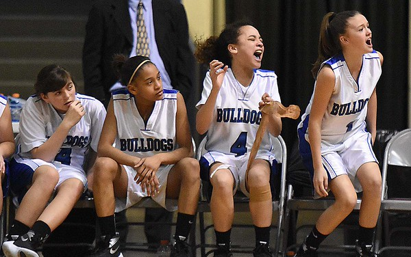 Beckley Stratton bench reacting after losing to Eastern Greenbrier 42-40 during the championship game of the girls middle school division Wednesday afternoon during The Big Atlantic Classic held at the Beckley-Raleigh County Convention Center