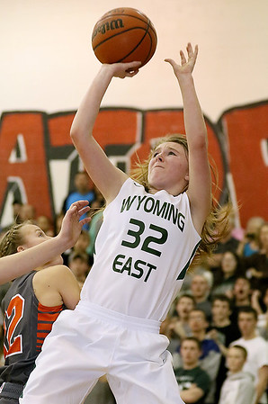(Brad Davis/The Register-Herald) Wyoming East's Gabby Lupardus shoots a fadeaway jumper during a sectional final game against SUmmers County at Liberty High School February 25 in Glen Daniel.