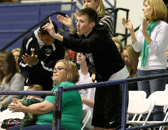 Brad Davis/The Register-Herald<br /> Fayetteville fans react to events on the court during the Pirates game against Van Monday night at the Beckley-Raleigh County Convention Center.