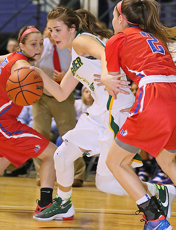 Greenbrier East's Katie Wilmer tries to get around Morgantown's Paige Poffenberger as she looks for a lane Friday night at the Beckley-Raleigh County Convention Center.