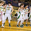 The Greenbrier East Spartans, battered by injuries to Lexi Tincher and Kiara Smith and beaten by the Morgantown Mohigans in the Big Atlantic Classic class AAA girls championship game, are in good spirits as they walk to mid court to accept the runner up trophy Friday night at the Beckley-Raleigh County Convention Center.