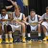 Shady Spring players lock arms on the bench just before the game ending. They beat Eastern Greenbrier in the boys middle school division during The Big Atlantic Classic held at the Beckley-Raleigh County Convention Center Wednesday afternoon.