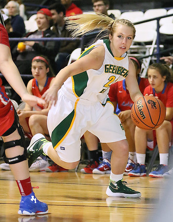 Greenbrier East's Skylar Blevins drives against Morgantown Friday night at the Beckley-Raleigh County Convention Center.