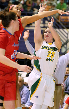 Greenbrier East's Lexi Tincher shoots from three-point range against Morgantown Friday night at the Beckley-Raleigh County Convention Center.