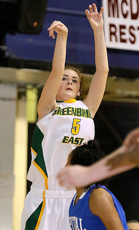 Brad Davis/The Register-Herald<br /> Greenbrier East's Katie Wilmer shoots from three-point range against Capital Thursday night at the Beckley-Raleigh County Convention Center.