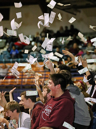 Woodrow Wilson students react as the clock runs out and the Flying Eagles claim the class AAA championship Saturday night at the Beckley-Raleigh County Convention Center.