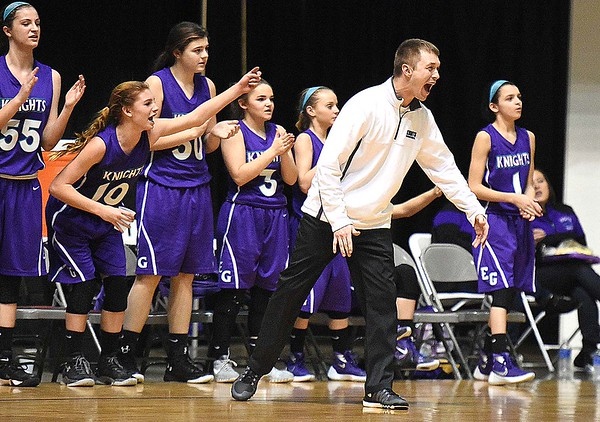 Eastern Greenbrier head coach Corey Morgan and his bench reacts after a basket was made in the closing seconds of the championship game in the middle school division Wednesday afternoon during The Big Atlantic Classic held at the Beckley-Raleigh County Convention Center