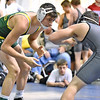 Brad Davis/The Register-Herald<br /> Greenbrier East's Jacob Hefner, left, takes on Preston's Branson Tasker in a 145-pound weight class matchup Friday afternoon at the Beckley-Raleigh County Convention Center. Hefner would pin Tasker to win the match.