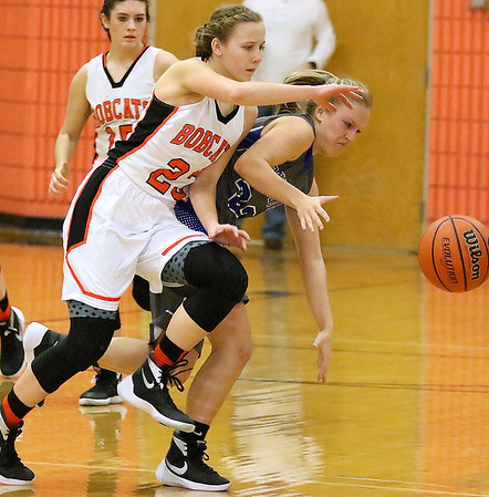 Brad Davis/The Register-Herald<br /> Summers County's Brittney Justice collides with Princeton's Brittany Long at mid court as the two rush for a loose ball Saturday afternoon in Hinton.