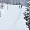Brad Davis/The Register-Herald<br /> A pair of shovelers make their way back up the snowy driveway at the Brian's Safehouse property Saturday afternoon.