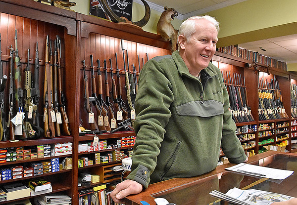 Brad Davis/The Register-Herald<br /> Flat Top Arms owner Ronnie Wood discusses President Barack Obama's executive actions expanding background checks for gun sales during a Register-Herald visit to the Eisenhower Drive business Wednesday afternoon.