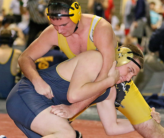 Brad Davis/The Register-Herald<br /> Shady Spring's Holt Criddle (182-pound), bottom, takes on Keyser's Hugo Perez (195-pound) Saturday afternoon at the Beckley-Raleigh County Convention Center. Criddle would go on to win the match.