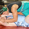 Brad Davis/The Register-Herald<br /> Fayetteville's Christian Lively takes on Philip Barbour's Tyler Riel in a 195-pound weight class matchup Saturday afternoon at the Beckley-Raleigh County Convention Center. Kump would pin Kennedy to win the match.