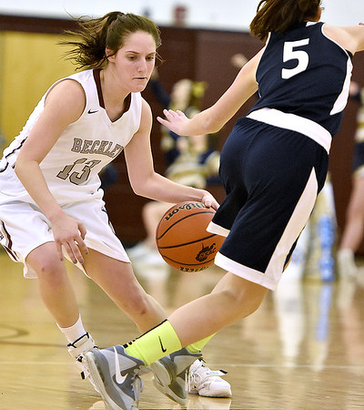 Brad Davis/The Register-Herald<br /> Woodrow Wilson's Rebekah Cook shakes off Shady Spring defender Sidney Moneypenny with a crossover as she looks for a lane during the Lady Eagles' win over the Tigers Friday night.