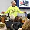 Brad Davis/The Register-Herald<br /> Mountain Party Communications Director Tom Rhule speaks during a celebration of Fayette County's fracking waste ban Tuesday night at Brethren Fellowship Center in Oak Hill.