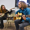 Brad Davis/The Register-Herald<br /> Local musicians Alice Beecher and Jackson Kusiak perform during a celebration of Fayette County's fracking waste ban Tuesday night at Brethren Fellowship Center in Oak Hill.