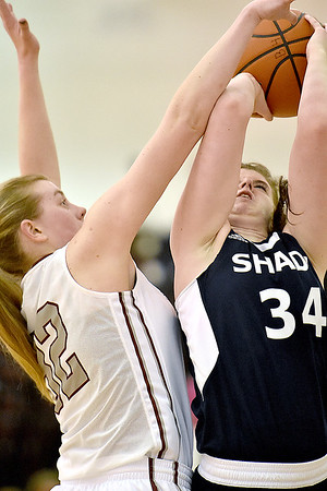 Brad Davis/The Register-Herald<br /> Woodrow Wilson's Savanah Holstein thwarts Shady Spring's Keyra Chitwood's drive to the basket during the Lady Eagles' win over the Tigers Friday night.