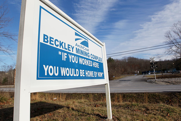 A sign outside Arch Coal's Beckley Mining Complex in Eccles. Arch Coal filed bankruptcy Monday.