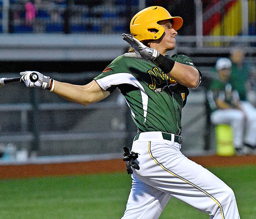 (Brad Davis/The Register-Herald) West Virginia's Austin Norman takes a cut during the Miners' 3-2 win over the Butler Blue Sox Friday night at Linda K. Epling Stadium.