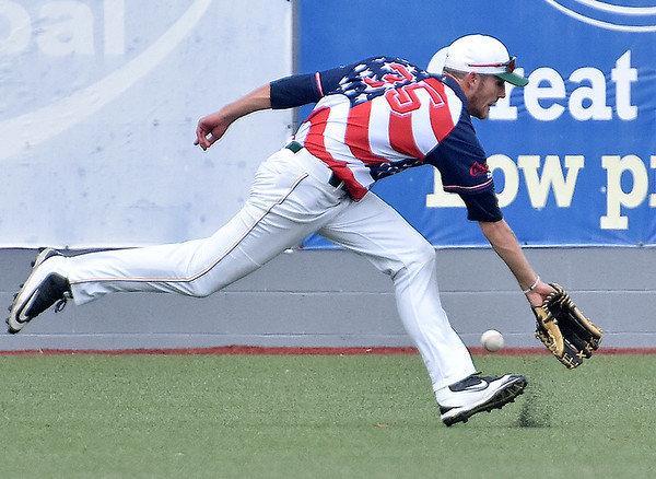 (Brad Davis/The Register-Herald) A sharp base hit off the bat of Chillicothe's Eli Boggess passes just out of the reach of West Virginia right fielder Tanner Levine's glove during the 6th inning of the Miners' 4-1 loss to the Paints Sunday afternoon at Linda K. Epling Stadium.