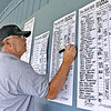 (Brad Davis/The Register-Herald) David Hunter keeps the scoreboard updated as foursomes finish their rounds at Grandview Golf Course Sunday afternoon at the BNI. The top players left standing after a weekend of golf compete today for all the marbles on the Cobb Course at the Resort at Glade Springs.